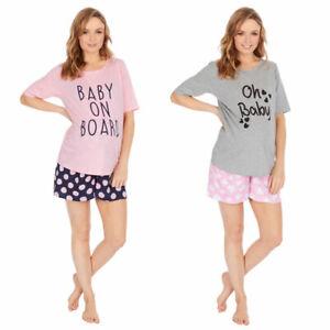 Ladies Maternity Pyjamas Shorts Nightwear Pyjama Set Sizes 8-22 Free P&P