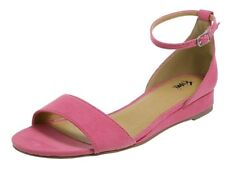 FIONI ANKLE STRAP SANDALS WEDGE HEEL PINK SUEDE SIZE 11W WIDE