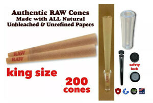 Raw cone Classic King Size pre rolled cone (200 Packs)+glass cone tip+lock tube