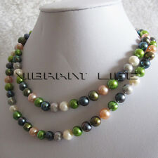 """34"""" 7-9mm Multi Color Freshwater Pearl Necklace Strand M6 Fashion Jewelry U"""