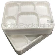 "25 x PREMIUM HEAVY DUTY DISPOSABLE WHITE PLASTIC '6 COMPARTMENT' PLATES - 9x12"""