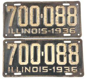 Illinois 1936 Pair Old License Plate Vtg Car Tag Man Cave Pub Prewar Auto Garage
