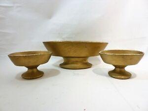 McCoy USA Pottery Planter Set Gold Painted