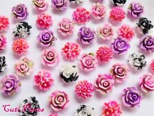 "3D Nail Art Fimo Clay Flowers ""Roses"" Pink Lilac Black White Embellishment Craft"