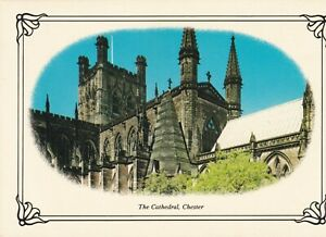 Chester. The Cathedral. 1987 'cameo' postcard. Fair Condition. Written & posted
