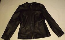 """BLACK 100% REAL LEATHER LADIES S JACKET CHEST 34"""" 86cm CAMANCH LEATHERS LONDON"""