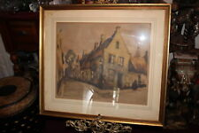 Antique Julien Celos Signed Lithograph-European Village Houses-Framed-Large