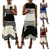 Women's Summer Striped Long Maxi Dress Sleeveless Party Holiday Beach Plus Size