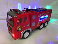 FIRE ENGINE TRUCK BUMP & GO ACTION CAR SIREN SOUND LED LIGHTS XMAS GIFT TOYS