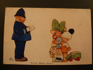 """Mabel Lucie Attwell COLOUR PC """"EVER BEEN HAD?"""" POLICEMAN 131)"""