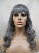 Gray Wavy Wig w/ Bangs Heat Style Ghost Spirit Elegant Witch Sorceress Old Lady