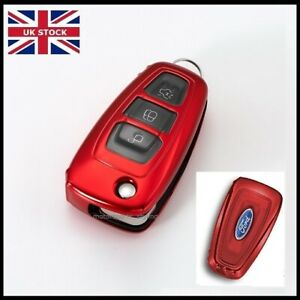 Red Key Cover For Ford Remote Case Galaxy Transit Tourneo Custom B C S Max t47*