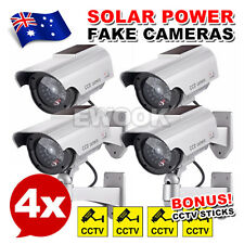 4x Solar Power Fake Camera CCTV Waterproof Realistic Dummy Security Cam Blinking