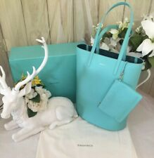 129da97a3df Tiffany Co Blue Leather Bag Shopper Tote Purse Pouch   Matching Clutch  POUCH BOX