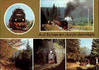 EISENBAHN Motiv-Mehrbild-AK Eisenbahnen im Harz, Lokomotive, Dampflok, DDR AK