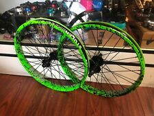 STOLEN BMX COMPLETE WHEEL SET FREECOASTER REAR FRONT TOXIC GREEN SPLATTER RHD