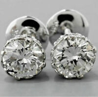 4Ct Round Cut VVS1/D Diamond Solitaire Stud Earrings Solid 14K White Gold Finish