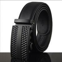 Leisure Men's Leather Belt Automatic Buckle Belt Ratchet Strap Black Gift jeans