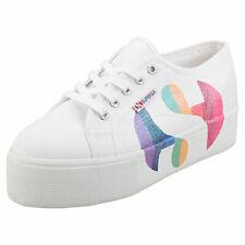Superga 2790 Cotw Printed Logoglitter Womens White Multicolour Flatform Trainers