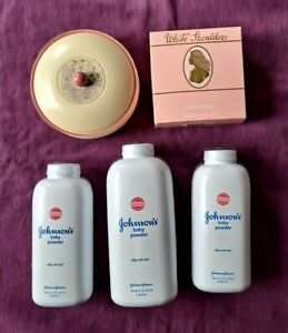 Lot 5 bottles powder vintage powder box bowl White Shoulders powder. 4 NEW Avon