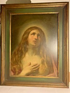 Vintage Antique 19th Century Mary Magdalene Large Oil Painting Wooden Original