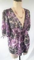 ANN TAYLOR LOFT Purple  Womans Size S Floral empire Boho top blouse 3/4 Sleeve