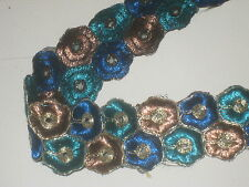 """3 yards in 1 3/4"""" width poly ,thread with bronze, blue & bright peacock color"""