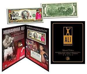 """MUHAMMAD ALI """"THE GREATEST"""" GOLD SIGNATURE U.S. $2 BILL w/h COLLECTIBLE FOLIO!"""