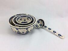 Polish Pottery Ceramika Artystyczna Bowls - Set of 3 Nesting Bowls and Ladle