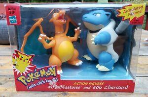 Pokemon Articulated Action Figures, Hasbro 1999, #06 Charizard and #09 Blastoise