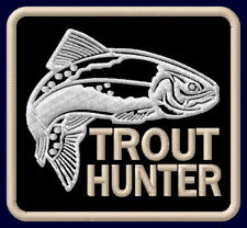 """TROUT HUNTER EMBROIDERED PATCH ~3"""" x 2-7/8"""" OUTDOOR SPORT FISHING ROD FORELLE"""