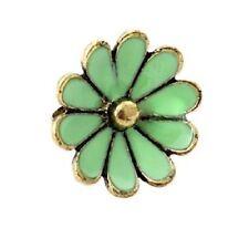 Precioso Vintage Retro Estilo ajustable verde esmalte Daisy Anillo De La Flor