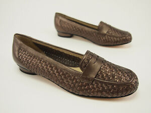 New ROS HOMMERSON Bronze Metallic Woven Leather Penny Loafer Flats 10.5