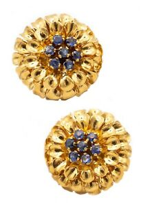 TIFFANY & CO. 1960 RETRO VINTAGE 18 KT GOLD FLOWERS EARRINGS WITH SAPPHIRES BOX!