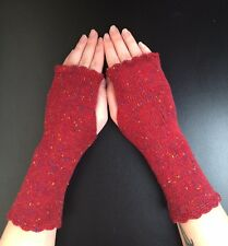 Lovely 100% Pure tweed  cashmere fingerless gloves.col. Rusty red