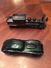 Collectible Avon Wild Country Aftershave Glass Pieces(Train and Car)