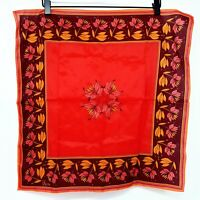 Vera Neumann Vintage Scarf Red Burgundy Floral Flowers Square Kerchief Wrap 70s