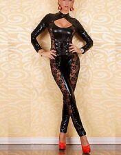 Body in PVC nero con colletto e gambe in pizzo N. 2 Clubwear bagnato Taglia M