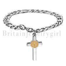 Stainless Steel Holy Mother Mary Cross Chain Prayer Bracelet For Women Men