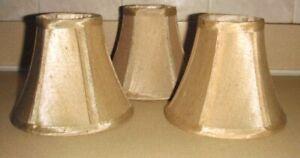 3 Chandelier Candelabra Mini Clip On Gold Goldish Bell Lamp Shades