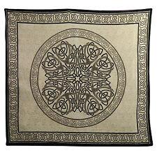 Couverture indienne Tenture Mandala Noir Blanc 220x210cm Coton Décoration murale