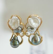 Free Form Black/White Pearl and Diamond Earrings in 14K Yellow Gold