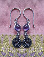 404 CELTIC LOVE KNOT amethyst gems Solid 925 Sterling Silver earrings rrp$34.99
