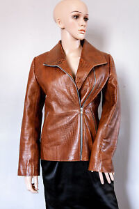Versace Stunning Real Leather Croc Effect Ladies Jacket, Size Small