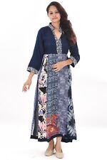 Indian 100% Cotton Women's Geometric Print Style Wear Long Dress Blue Color Gown