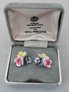 Earrings Royal Worcester Fine Bone China Flowers Hand Made Hand Painted