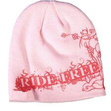 Ladies RIDE FREE Beanie Knit Skull Cap Motorcycle Womens Pink  Red Hat Biker