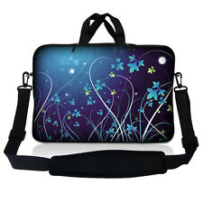 "17.3"" 17.4 Laptop Sleeve Bag Case Pouch w Handle & Shoulder Strap Blue Floral 07"