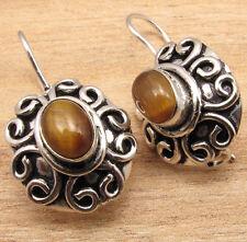 Silver Plated Semi Precious Gemstone Jewelry Brown Tiger'S Eye Earrings ! 925