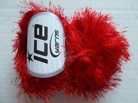 Eyelash yarn by Ice Yarns, Red, lot of 2, (81 yds each)